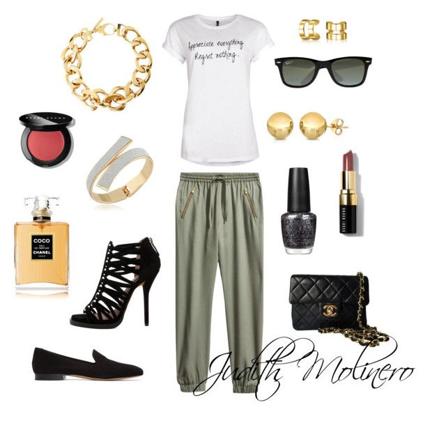 """""""military, black and white"""" by judith-molinero-fashion on Polyvore featuring H&M, Pluma, Bling Jewelry, Mansur Gavriel, Ray-Ban, Givenchy, Chanel, Bobbi Brown Cosmetics and OPI"""