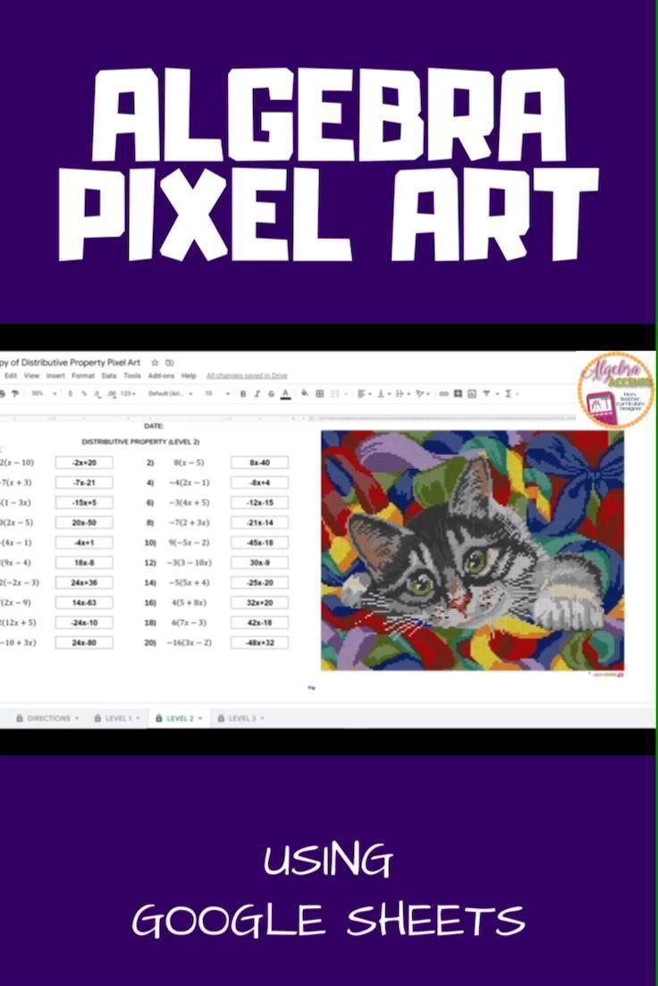 Algebra 1 Distance Learning Distributive Property Pixel Art Google Sheets Video Math Resources Distributive Property Algebra 1 [ 1102 x 736 Pixel ]