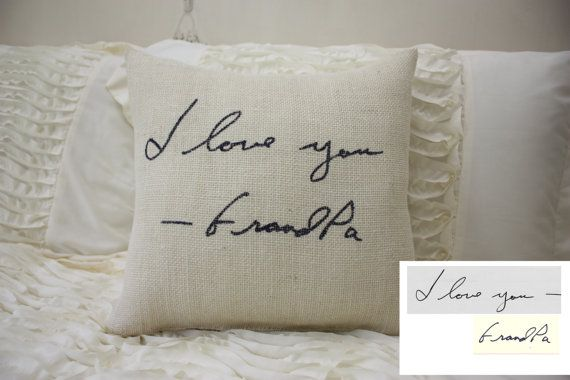 Hey, I found this really awesome Etsy listing at https://www.etsy.com/listing/208028818/burlap-pillowpersonalized-handwriting
