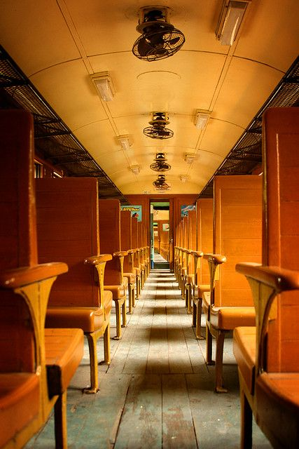 vintage train with wooden floors