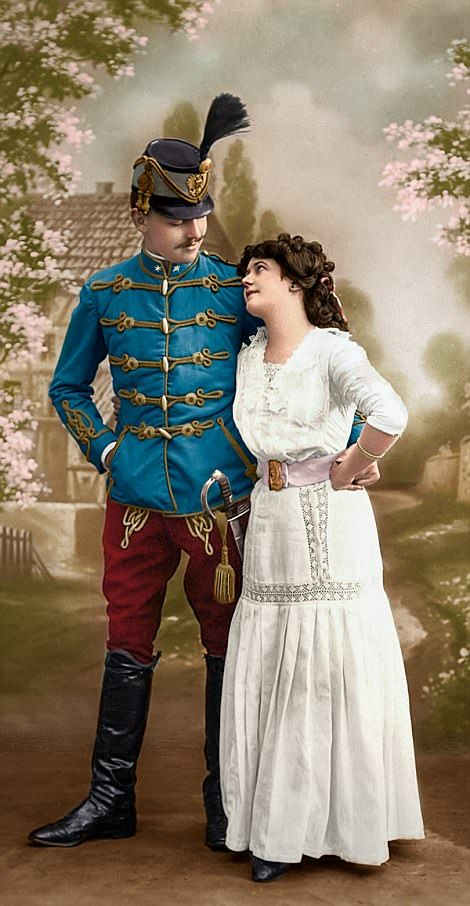 A light cavalryman from the Austro-Hungarian Empire known as a hussar is pictured with his wife, likely before the beginning of the First World War