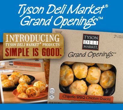Tyson Deli Market Products now available in the cold case of your Walmart deli. Try Tyson Deli Market® Grand Openings™ snacks at your next party! These delicious bites of bread stuffed with your favorite fillings are bound to please your crowd. Pick them up at your local Walmart deli.