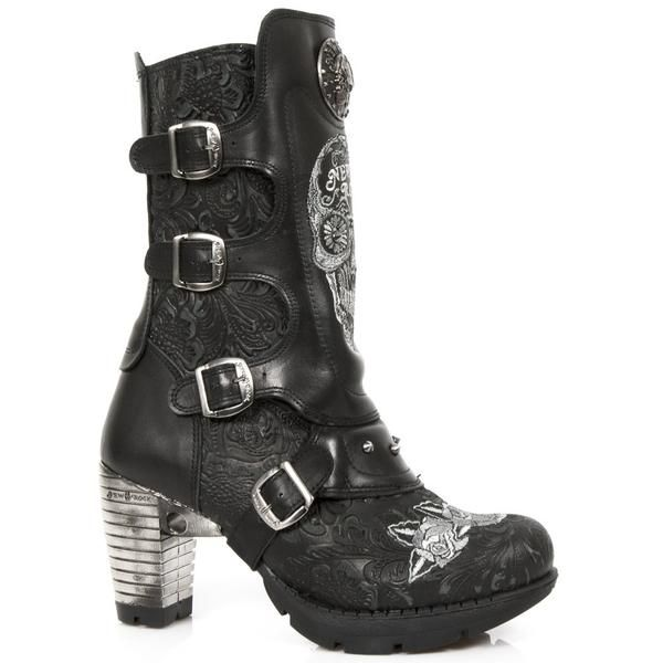 New Rock Black Boots with Embroidered White Sugar Skull & Tattoo Roses    Goth/Gothic/Heels/Chrome/Leather/Buckles/Biker