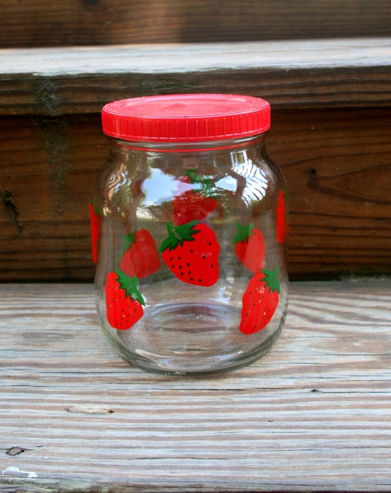Vintage strawberry glass jar