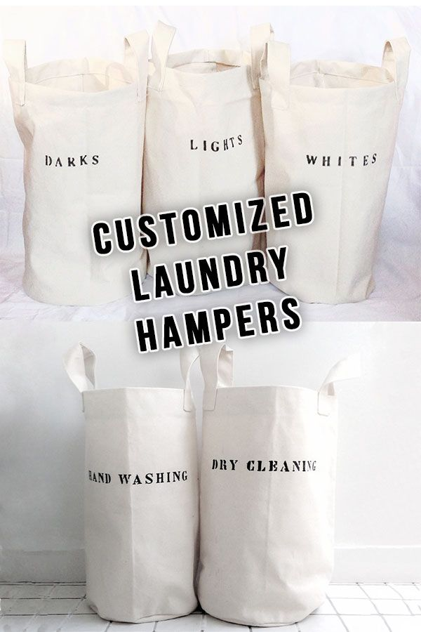 These Stand Alone Canvas Laundry Bags Labeled Darks Lights