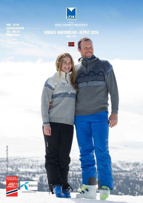 Offisiell genser til det norske alpinlandslaget 2016. Det norske alpinlandslaget I Norges skiforbund vil bruke denne sporty skigenseren sesongen 2015 - 2016. Dale garn tilbyr oppskrifter til håndstrikkede varianter av alpint 2016 genseren.
