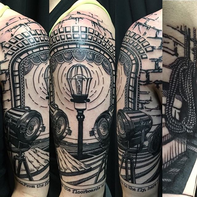 """Theater inspired piece by Zoey Taylor at The Warren Tattoo """"From the floorboards to the fly here I was fated to reside."""""""