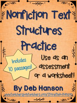 Printables Identifying Text Structure Worksheets 1000 ideas about text structure worksheets on pinterest nonfiction structures this resource contains 10 passages students read each paragraph and identify the information