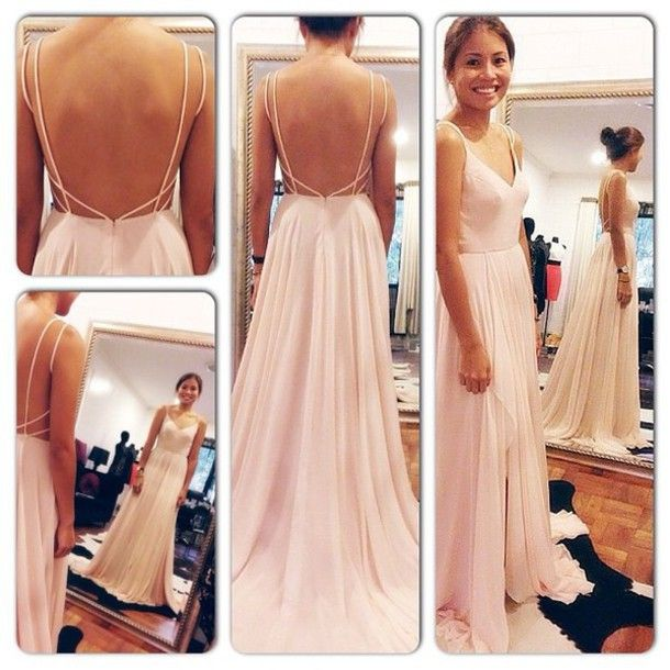 hot& sexy backless spaghetti straps v neck chiffon 2014  sexy prom dress  B05287