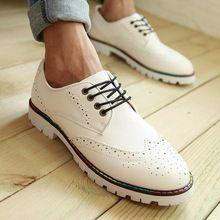 Hombres ocasionales Oxfords respirables de inglaterra estilo blanco plataformas dedo del pie redondo zapatos de vestir formales para hombre de 68(China (Mainland))