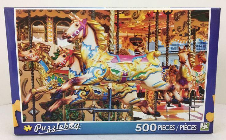 Puzzlebug Colorful Carousel Jigsaw Puzzle 500 Pc Painted Pony Horse Age 8 LPF #Puzzlebug