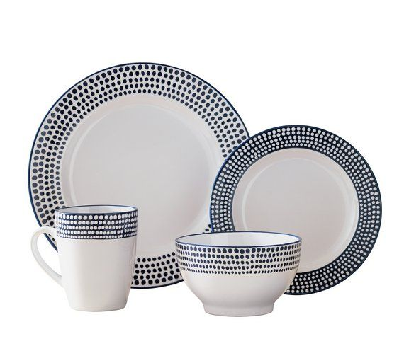 £20.99 argos Buy Heart of House Paradise 16 Piece Stoneware Dinner Set- Blue at Argos.co.uk, visit Argos.co.uk to shop online for Cooking, dining and kitchen equipment, Clearance Home and garden, Home and garden