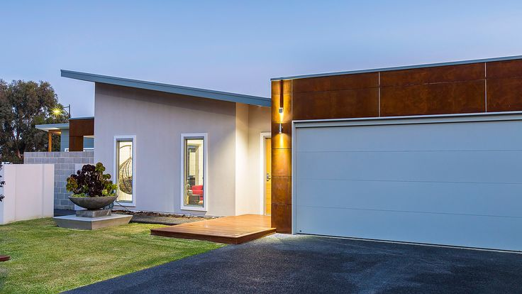 James Hardie Scyon Matrix, Rust Paint Finish, front entrance design, modern front elevation, exposed aggregate footpath and driveway