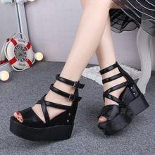 Models Shoes Plain Fish Mouth Women Shoes Peep Toe High Heels Buckle Strap…