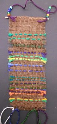 Burlap weaving. I like the use of beads. This site also has other nice crafts.