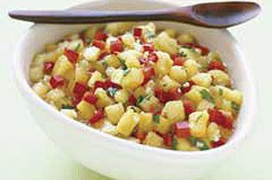 Pineapple Salsa    what you need  1/2  of a fresh pineapple, finely chopped  1medium  red pepper, finely chopped  1/4cup  chopped cilantro  1/4cup  KRAFT Zesty Italian Dressing  make it    MIX all ingredients until well blended.    SERVE immediately or cover and refrigerate until ready to serve.