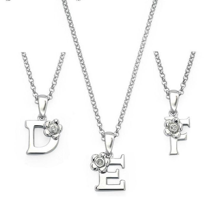 Little Diva Diamonds Sterling Silver Diamond Accent Initial Pendant Necklace (D), Women's, Size: 16 Inch, White