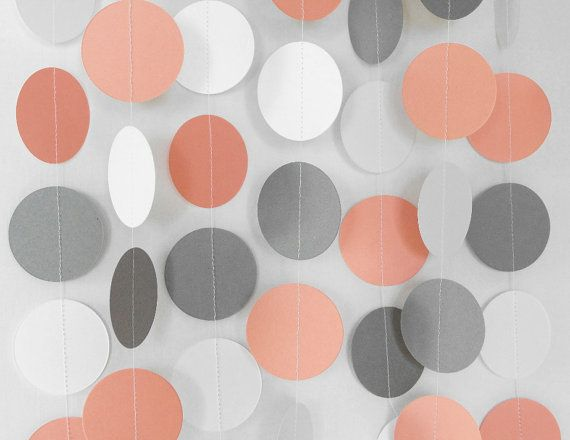 Coral Gray U0026 White Garland, Coral Wedding Decoration, Coral Bridal Shower,  Baby Shower Decor, 10 Foot Long Paper Garland