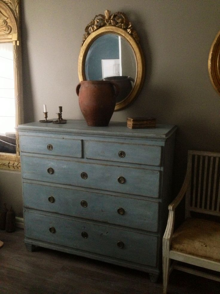Blue Gustavian Chest of Drawers  www.dlarssoninteriors.com