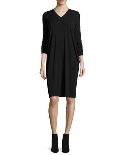 Eileen+Fisher+Long+Sleeve+Silk+Jersey+Dress+with+Pockets+|+Clothing