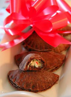 Jo and Sue: Chocolate Candy Cane Cheesecake Pie Pockets. Candy cane cheesecake in a chocolate pie crust that you can hold in your hand!