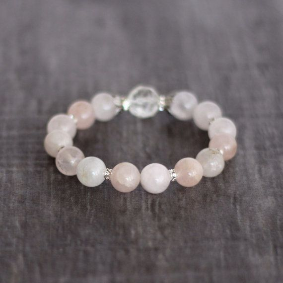 Frosted Roses Quartz Bracelet by thebeadedchickadee on Etsy