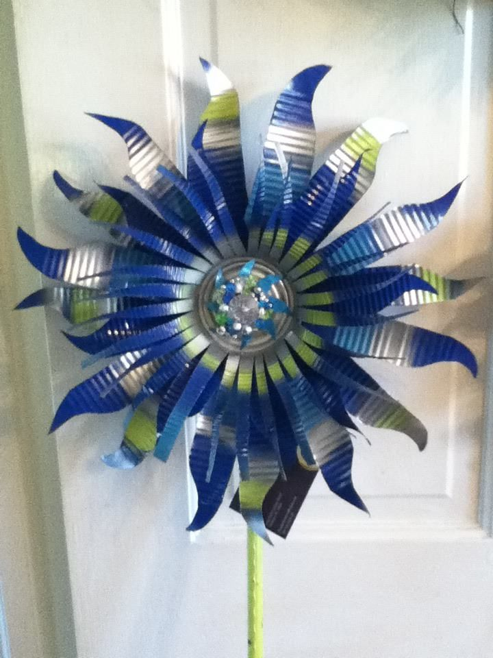 Recycled can art - love blue