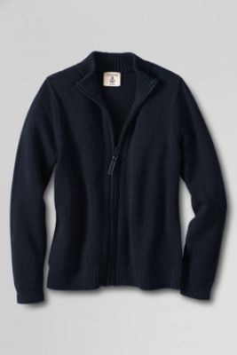 School Uniform Girls' Zip-front Drifter Cardigan from Lands' End - I think both my daughter and I would love this sweater!