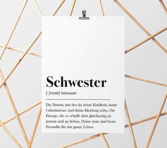 Schwester Definition, Geschenk für Schwester, Geburtstagsgeschenk Familie, Plakat Wörterbuch, Poster mit Text, Skandinavisch Schwarz Weiß
