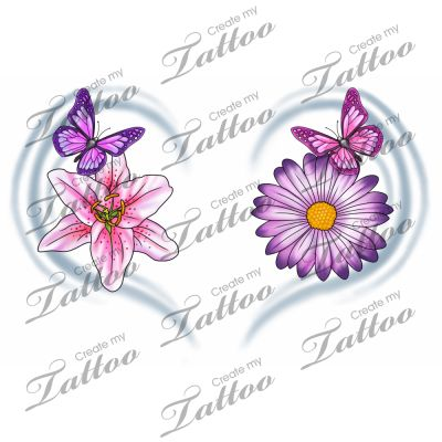 Marketplace Tattoo Bright Butterflies & Flowers #2421 | CreateMyTattoo.com