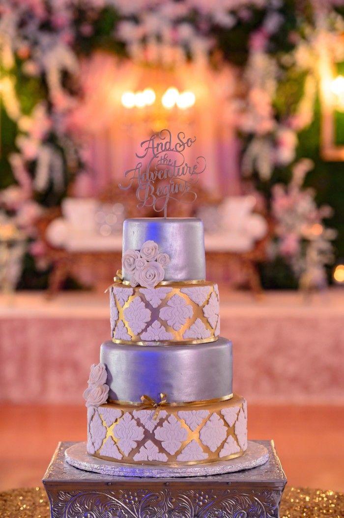 Peach & Pink Sikh Wedding at Viaggio Winery {California} - The Big Fat Indian Wedding  #weddingcake #fourtierweddingcake #silverweddingcake #weddingcakeelegant