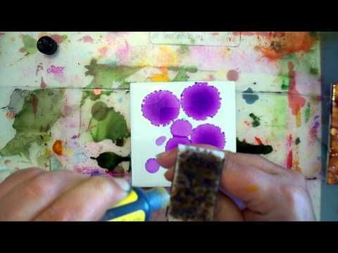 ▶ Beginner to Intermediate Alcohol Inks on Tile Tutorial - YouTube -- He uses Tim Holtz alcolhol ink stamps with his own cut felt for the stamp surface - very intricate results!