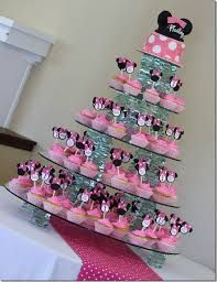 minnie mouse birthday party ideas - Google Search For Bella, all cupcakes and her smash cake at the top.