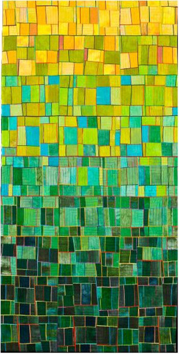This is actually a quilt, but this concept would be so cool with colored glass tiles...and a lot of um