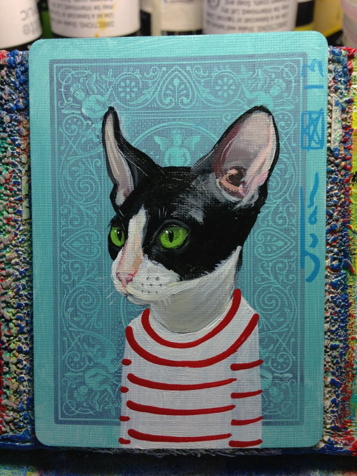 Cat portrait N90 on a playing cards. Original acrylic painting. 2013. $25.00, via Etsy.