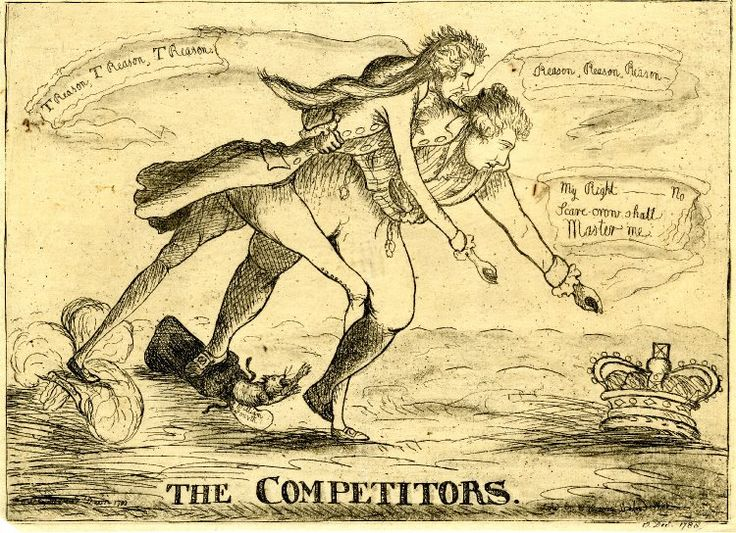 """The Competitors,12 Dec 1788. Pitt and the Prince of Wales """"compete"""" for the crown - a satire on the debate of 10 Dec, when Burke had charged Pitt with being 'one of the Prince's competitors' and charges of treason had been exchanged between Pitt and Fox."""