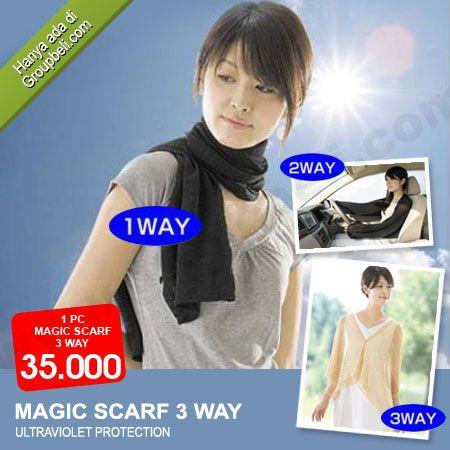Magic Scarf 3 Way melindungi kulit dari sengatan sinar ultraviolet saat beraktifitas hanya Rp 35.000 http://groupbeli.com/view.php?id=684