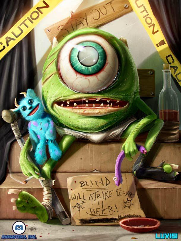 10 Illustrations (trop?) réalistes de Dan Luvisi – Les Simpson, Monster and Co, Mario, Wall-E, Adventure Time…