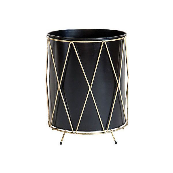 Pre-Owned Midcentury Waste Bin (2.395 HRK) ❤ liked on Polyvore featuring home, home decor, small item storage, decorative accessories, metal wastebasket, metal home decor, metal waste basket, black waste basket and mid century modern home decor