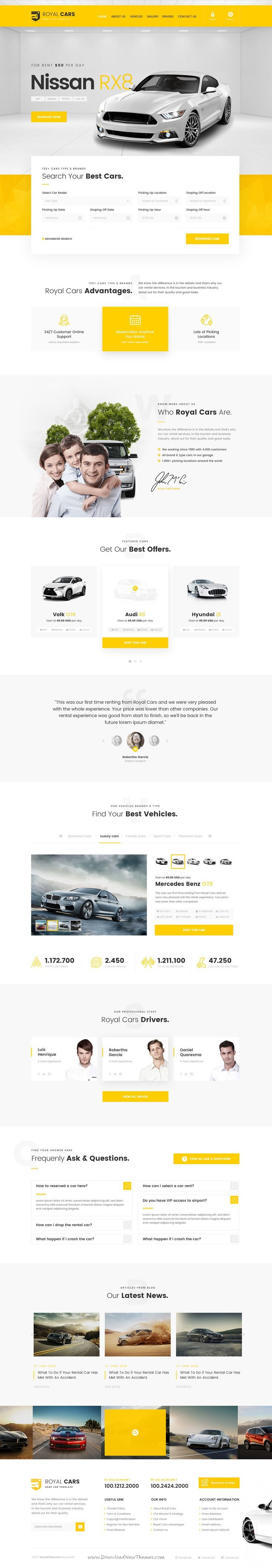 Royal Cars is clean and modern design PSD template for #car #rental and sale website with 15 layered PSD pages to live preview & download click on Visit  #psdtemplates