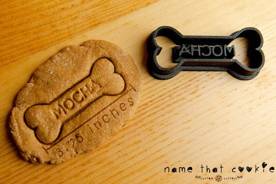 Dog Bone Cookie Cutter Personalized Custom Made by NameThatCookie