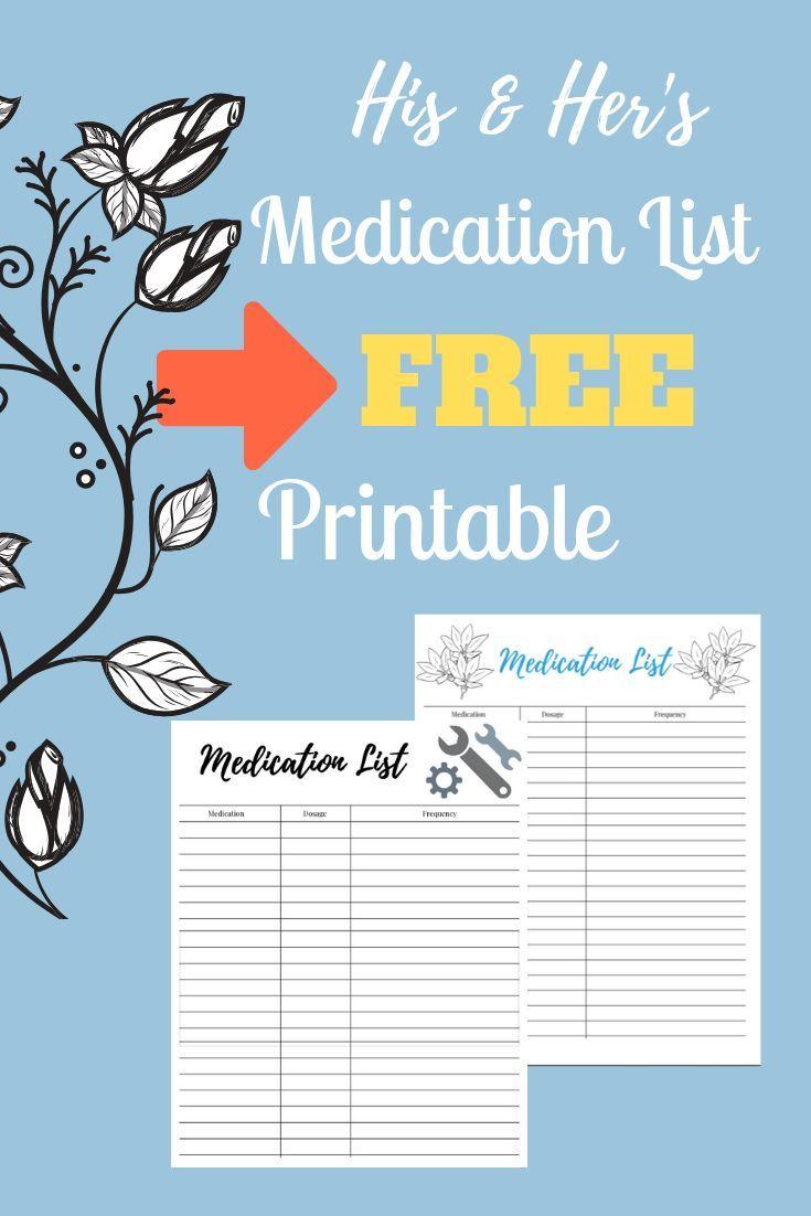 Medication List Printables For Him And Her Free Download Printable Free Download Caregiver Medicationl Medication List Medical Printables Medical Binder