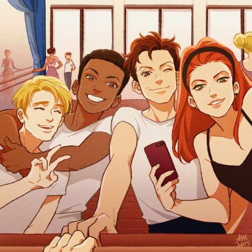 [Image: A young Steve Rogers, Sam Wilson, Bucky Barnes, and Natasha Romanoff posing in front of a barre and mirror; Natasha is taking their picture.]  temariart:  As many of you requested Sam being in the ballet dancer au I drew yesterday, here you go! :)someone please write something about this (sobs