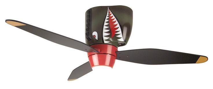 "Craftmade WB348TS3, Warplanes Tiger Shark Flush Mount Kids 48"" Ceiling Fan with Light"