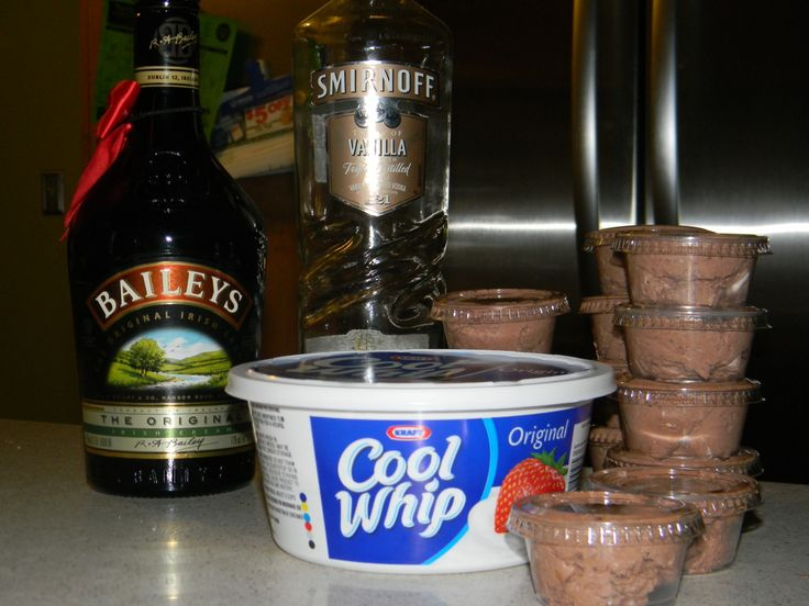Bailey's Irish Cream Chocolate Pudding  In a large bowl, mix one large box of instant chocolate pudding with 3/4 cup Bailey's and 1/4 cup vanilla vodka. Stir together until combined. Fold in one container of Cool Whip. Stir until combined. Spoon into individual containers with lids, you can get these at the liquor store. This recipe makes about 16 pudding shots.