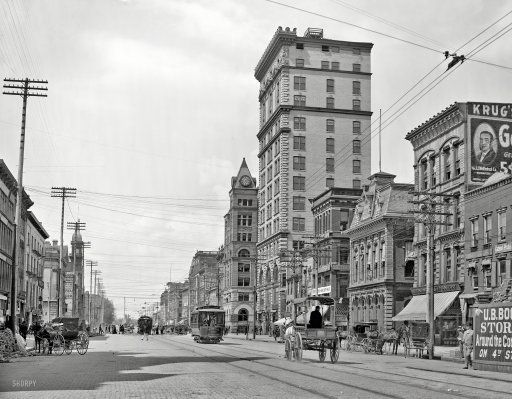 """1904. """"Main Street -- Dayton, Ohio."""" Home of the Tooth Tower. 8x10 inch dry plate glass negative, Detroit Publishing Company."""