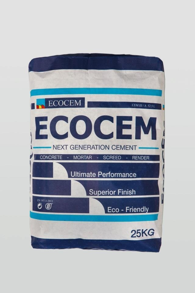 New ecocem next generation cement bag, packaging design and branding design by kingston lafferty design. Www.kingstonlaffertydesign.com