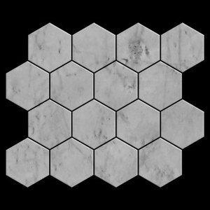 "3"" Hexagon Mosaic Tile Honed Carrara Marble Italian White Bianco Carrera Premium Grade High Quality Marble"