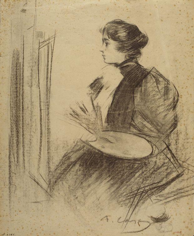 The Athenaeum - Woman Painting (Ramon Casas y Carbó - )