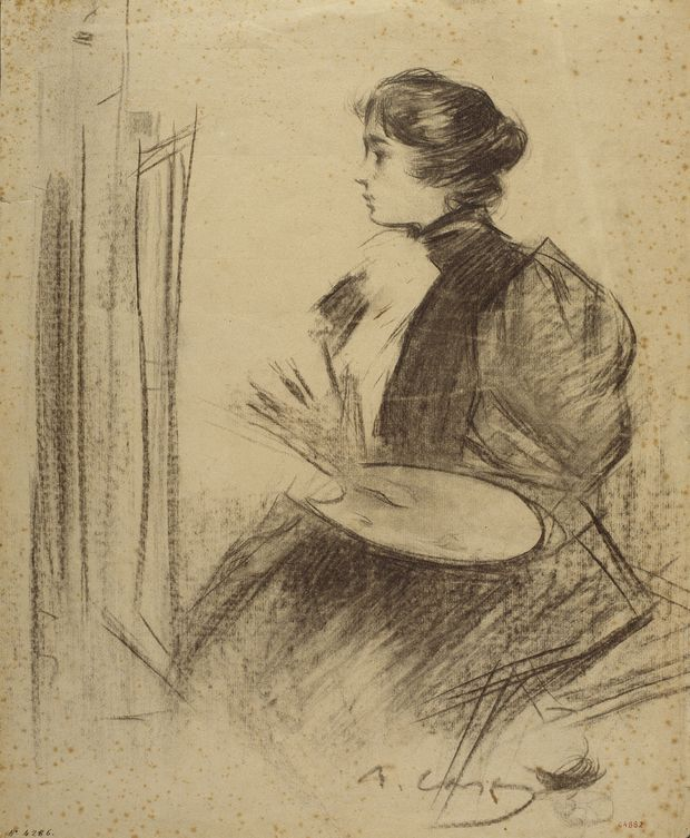 Ramon Casas i Carbó - Woman Painting, 1893